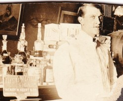 Bernard McMahon working as a bartender in a photograph provided by his family.